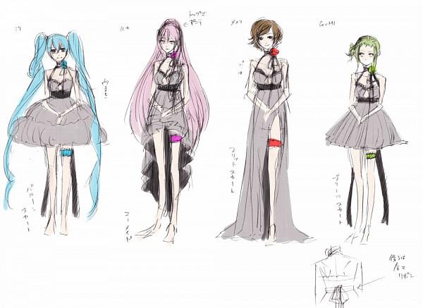 Tags: Anime, Suzunosuke, VOCALOID, Hatsune Miku, MEIKO (VOCALOID), Megurine Luka, GUMI, Character Sheet, Akuno-p, Sketch, Venomania no Ouyake no Kyouki, The Madness Of Duke Venomania