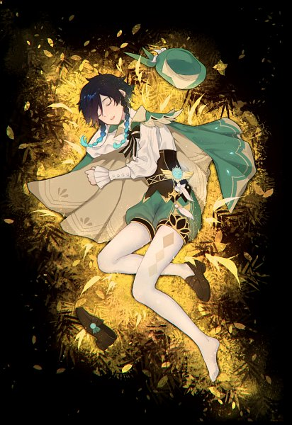 Tags: Anime, Pixiv Id 46715570, Genshin Impact, Venti, Laying on Grass, Fanart, Fanart From Pixiv, Pixiv