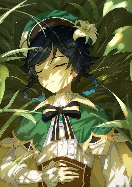 Tags: Anime, Pixiv Id 11430749, Genshin Impact, Venti, Laying on Grass