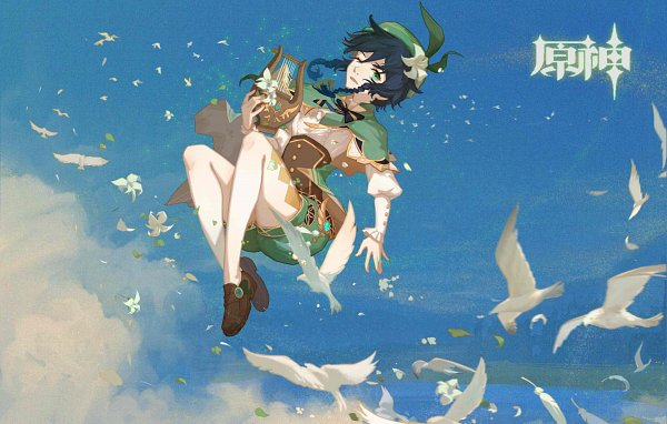 Tags: Anime, Genshin Impact, Venti, Lyre, Fanart From Pixiv, Pixiv, Fanart