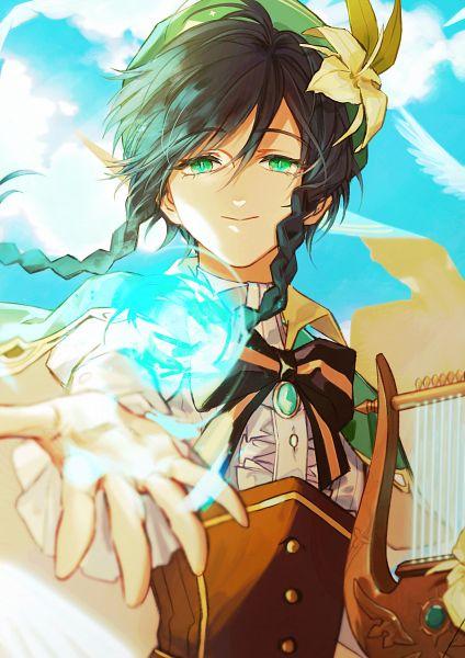 Tags: Anime, Pixiv Id 16307358, Genshin Impact, Venti, Harp