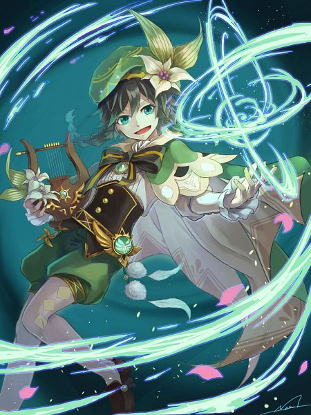 Tags: Anime, Pixiv Id 682017, Genshin Impact, Venti, Harp