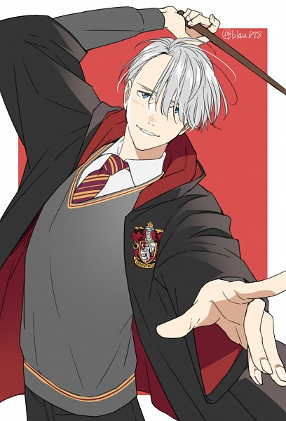 Tags: Anime, 678 (Artist), Yuri!!! On Ice, Victor Nikiforov, Harry Potter (Cosplay), V-neck, Emblem, Fanart, Fanart From Pixiv, PNG Conversion, Pixiv, Mobile Wallpaper
