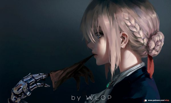 Tags: Anime, wlop, Violet Evergarden, Violet Evergarden (Character), Biting Gloves, Gloves Off, Fanart From DeviantART, deviantART, Fanart