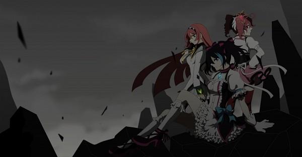 Tags: Anime, UTAU, VOCALOID, Namine Ritsu, Yokune Ruko, Kasane Teto, Mahou Shoujo Madoka☆Magica (Parody), Akemi Homura (Cosplay), Tomoe Mami (Cosplay), Kaname Madoka (Cosplay), Fanart, Pixiv, Facebook Cover