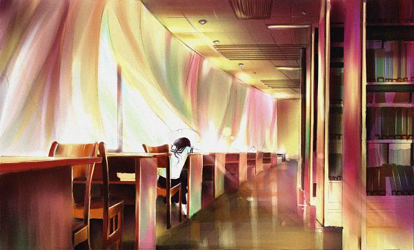 Tags: Anime, Vira, Lonely, School Desk, Face Down, Arm Pillow, Library, Lifting, Wallpaper, Pixiv