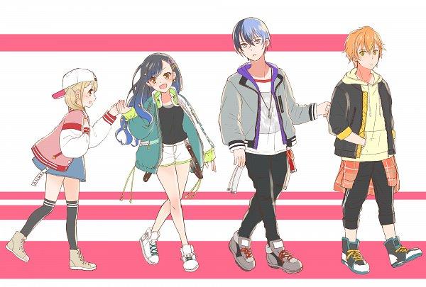Tags: Anime, Pixiv Id 60301691, Project Sekai Colorful Stage! feat. Hatsune Miku, Shiraishi An, Shinonome Akito, Aoyagi Touya, White Shorts, Open Hoodie, Azuswa Kohane, Vivid BAD SQUAD