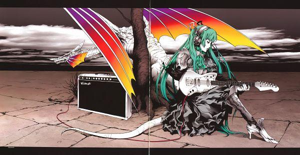 Tags: Anime, Nagimiso, VOCALOID, Hatsune Miku, Speaker, HD Wallpaper, Scan, Facebook Cover, Wallpaper, Vocarock