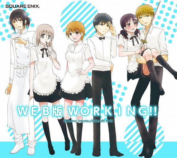 Tags: Anime, Takatsu Karino, WWW.Working!!, Shindou Yuuta, Higashida Daisuke, Muranushi Sayuri, Adachi Masahiro, Kamakura Shiho, Miyakoshi Hana, Chef Uniform, Holding Fork, Shinai, Mobile Wallpaper