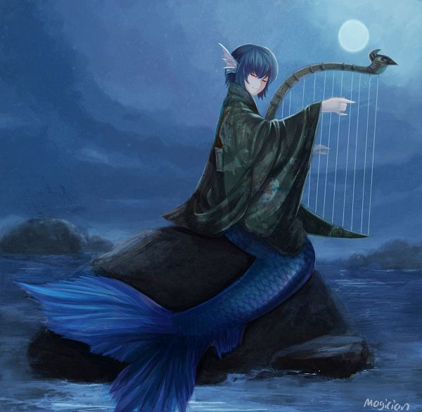 Tags: Anime, Pixiv Id 5100338, Touhou, Wakasagihime, Harp, Head Fins, Pixiv, Revision, Fanart From Pixiv, Fanart