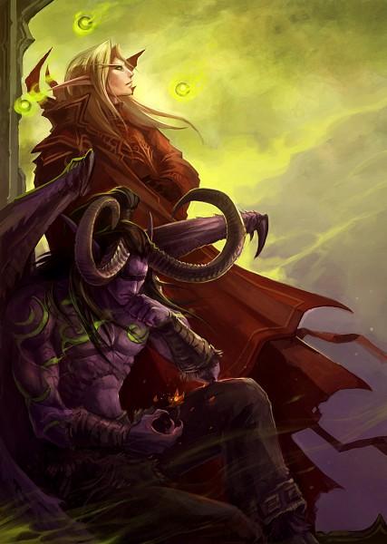 Tags: Anime, Sandara, Warcraft, Kael'thas Sunstrider, Illidan Stormrage, Purple Skin, deviantART, Mobile Wallpaper, Fanart