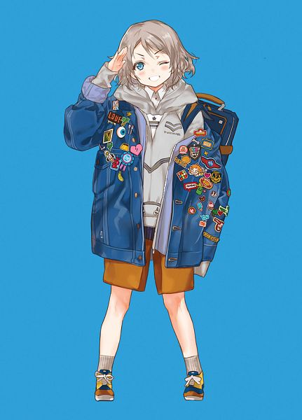 Tags: Anime, Kissai, Love Live! Sunshine!!, Watanabe You, Sticker (Object), Oversized Clothes, Brown Shorts, Fanart, Fanart From Pixiv, Pixiv, Mobile Wallpaper, Revision