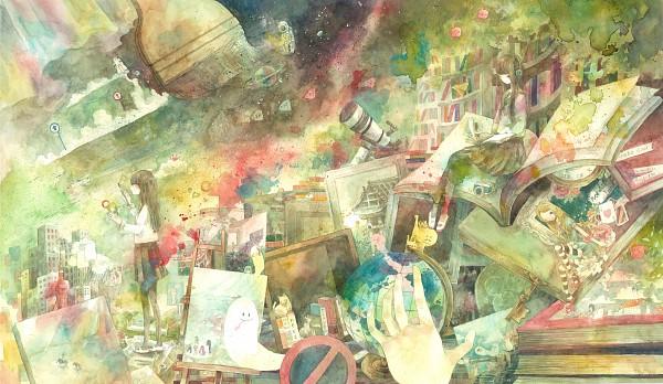 Tags: Anime, Wayukako, Telescope, Pixiv, Original, Watercolor, Wallpaper, Traditional Media