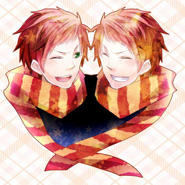Tags: Anime, Pixiv Id 520618, Harry Potter, George Weasley, Fred Weasley, Plaid Background, Symmetry, Pixiv, Fanart, Weasley Twins, Weasley Family