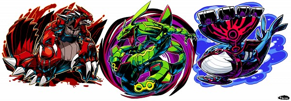 Tags: Anime, Sido (Slipknot), Pokémon, Rayquaza, Kyogre, Groudon, Pixiv, Legendary Pokémon, Twitter Header, Fanart, Fanart From Pixiv, Weather Trio