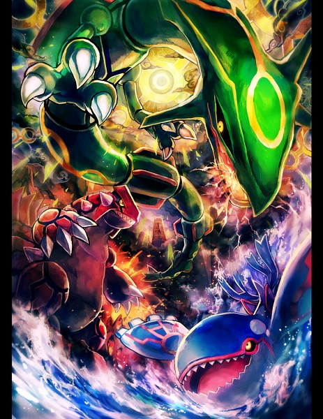 Tags: Anime, Kantarou (8kan), Pokémon, Rayquaza, Kyogre, Groudon, Lava, Swimming, Fanart, Fanart From Pixiv, Legendary Pokémon, Pixiv, Weather Trio