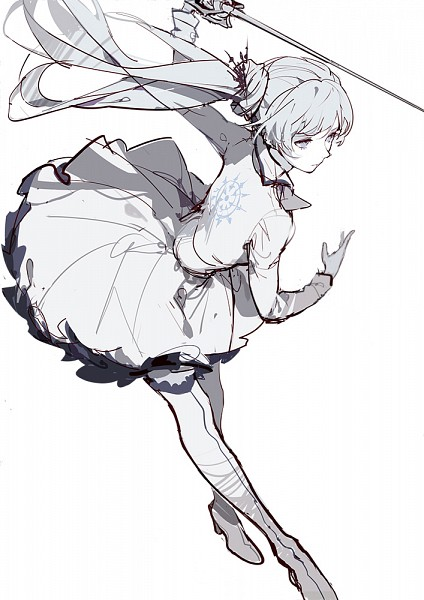 Tags: Anime, Asukaziye, RWBY, Weiss Schnee, White, Mobile Wallpaper, Pixiv, Fanart, Fanart From Pixiv