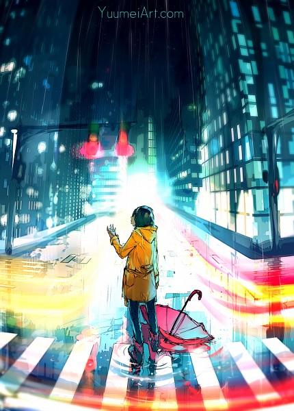 Tags: Anime, Wenqing Yan, Traffic Light, Yellow Outerwear, Rain Boots, Crosswalk, Water Reflection, Mobile Wallpaper, deviantART, Original