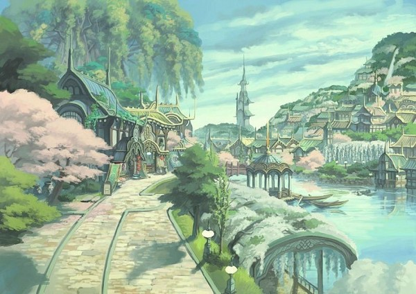 Tags: Anime, Level-5, White Knight Chronicles, Dock, No Character, Tower, Boat, Official Art