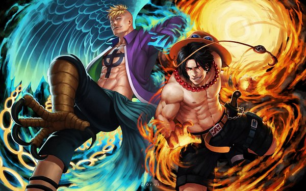 Tags: Anime, Crovius, ONE PIECE, Portgas D. Ace, Marco (ONE PIECE), 1600x1000 Wallpaper, Fanart From DeviantART, Wallpaper, Fanart, deviantART, Whitebeard Pirates