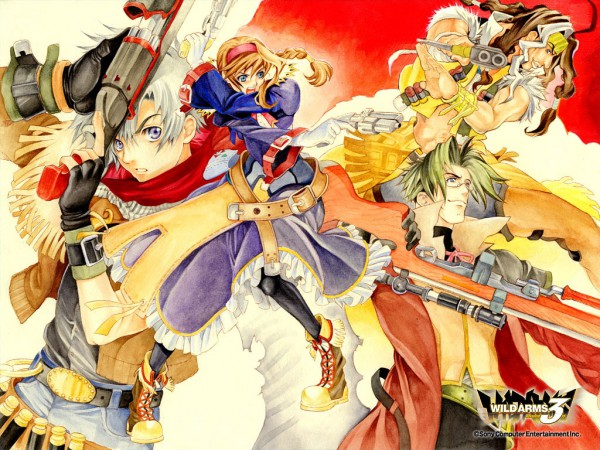 Tags: Anime, Ooba Wakako, Wild Arms, Clive Winslett, Virginia Maxwell, Jet Enduro, Gallows Carradine, Official Wallpaper, Wallpaper, Official Art