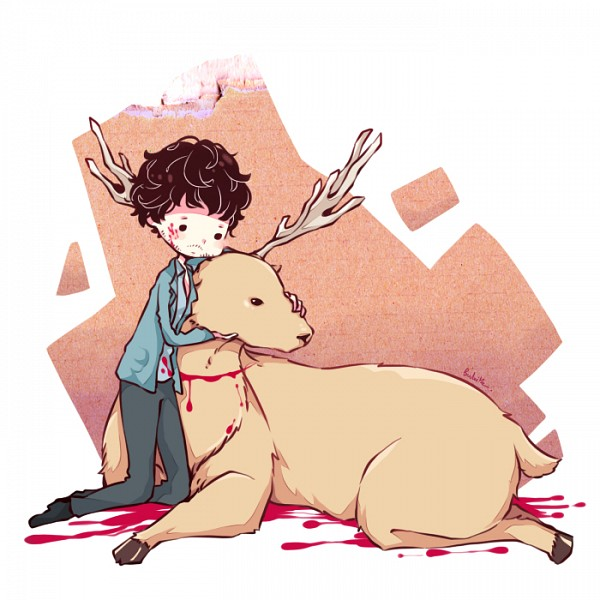 Tags: Anime, Pixiv Id 1607945, Hannibal (TV Series), Will Graham, Deer, Hugging Animal, Stubble, Fanart, PNG Conversion, Pixiv, Fanart From Pixiv