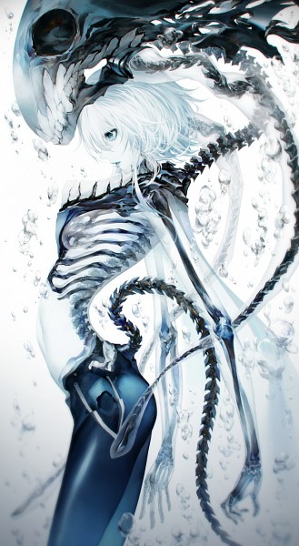Tags: Anime, Kodama (Wa-ka-me), Kantai Collection, Wo-Class (Kantai Collection), Transparent Body, Skeleton Arm, Pixiv, Fanart, Mobile Wallpaper, Fanart From Pixiv, PNG Conversion