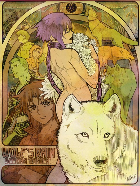 Tags: Anime, Kawamoto Toshihiro, Wolf's Rain, Kiba (Wolf's Rain), Cheza, Toboe, Hige, Tsume, Scan, Official Art