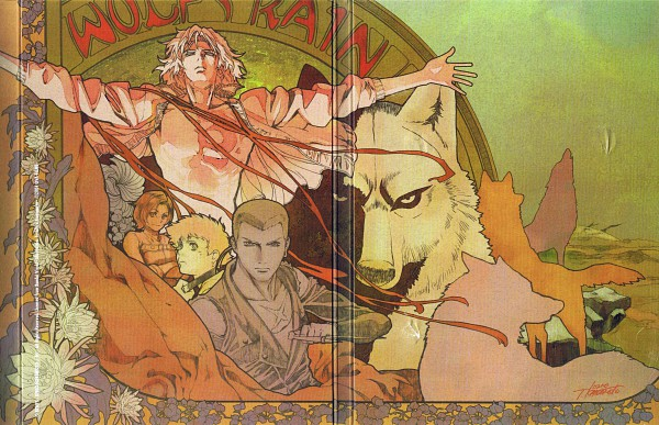 Tags: Anime, Kawamoto Toshihiro, Wolf's Rain, Myu (Wolf'S Rain), Hige, Tsume, Kiba (Wolf's Rain), Official Art, Scan