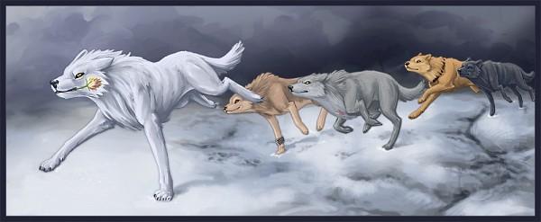 Tags: Anime, Wolf's Rain, Kiba (Wolf's Rain), Blue (Wolf's Rain), Toboe, Hige, Tsume, Silverpoot