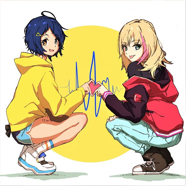 Tags: Anime, Pixiv Id 41206557, Wonder Egg Priority, Kawai Rika, Ohto Ai, 1200x1200 Wallpaper, Heart Gesture Duo, Heartbeat, Wallpaper