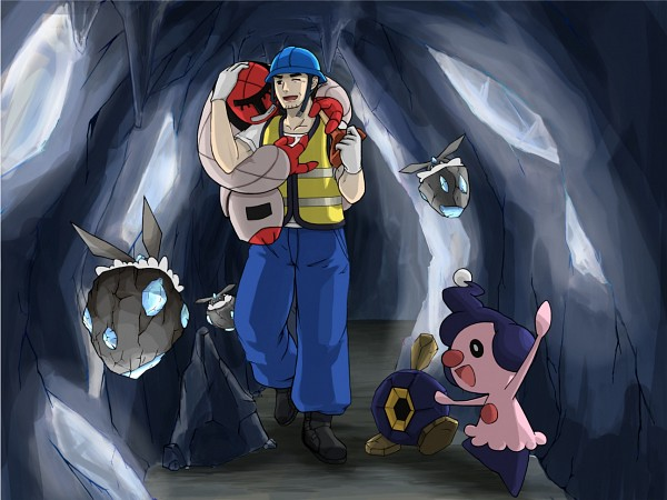 Tags: Anime, Pixiv Id 4133163, Pokémon, Mime Jr., Worker (Pokémon), Throh, Carbink, Roggenrola, Trainer Class, Pixiv, Fanart From Pixiv, Fanart