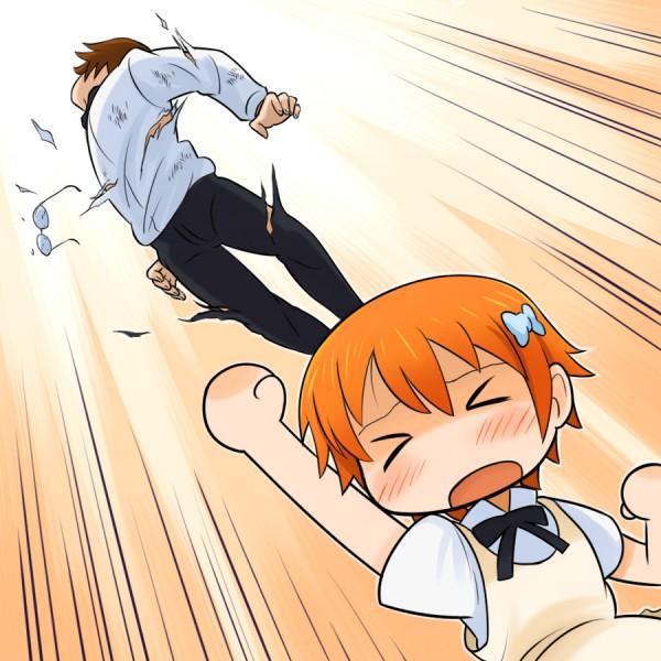 Tags: Anime, Denden, Working!!, Inami Mahiru, Takanashi Souta, Punching, Pixiv, Fanart, Fanart From Pixiv