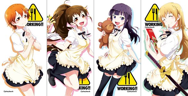 Tags: Anime, Playback, Working!!, Taneshima Popura, Inami Mahiru, Todoroki Yachiyo, Yamada Aoi, Fanart