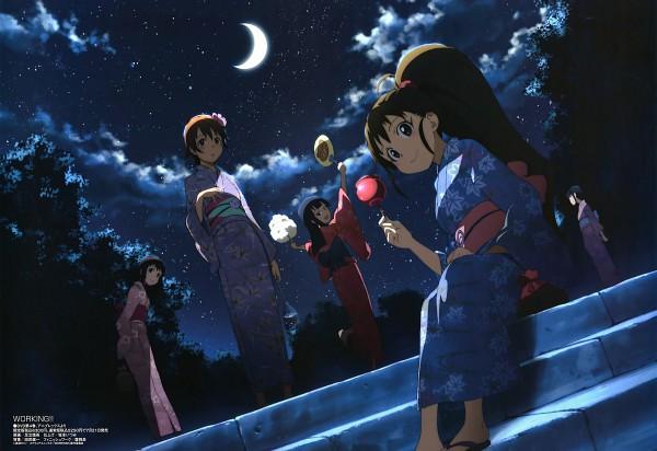 Tags: Anime, Adachi Shingo, A-1 Pictures, Working!!, Megami #123 2010-08, Yamada Aoi, Takanashi Nazuna, Taneshima Popura, Matsumoto Maya, Inami Mahiru, Festival, Uchiwa, Cotton Candy