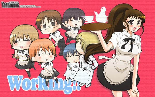 Tags: Anime, Takatsu Karino, Working!!, Inami Mahiru, Souma Hiroomi, Todoroki Yachiyo, Yamada Aoi, Satou Jun, Taneshima Popura, Takanashi Souta, Chef Uniform, Official Art, Official Wallpaper