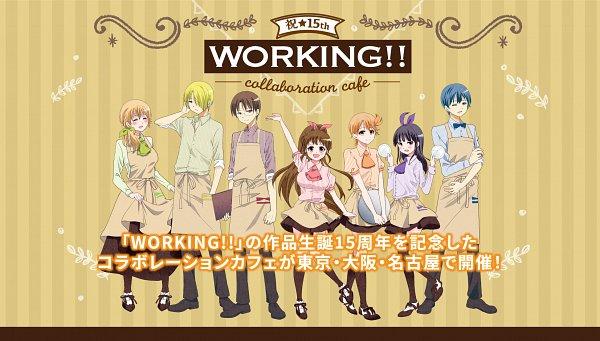 Tags: Anime, Takatsu Karino, Working!!, Takanashi Souta, Inami Mahiru, Souma Hiroomi, Todoroki Yachiyo, Yamada Aoi, Satou Jun, Taneshima Popura, Menu, Text: Anniversary, Product Advertising