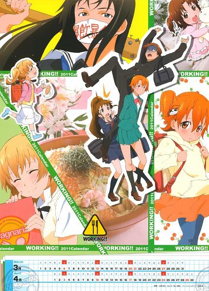 Tags: Anime, Adachi Shingo, A-1 Pictures, Working!!, Working!! 2011 Calendar, Inami Mahiru, Shirafuji Kyouko, Todoroki Yachiyo, Takanashi Souta, Taneshima Popura, Randoseru, Scan, Calendar 2011