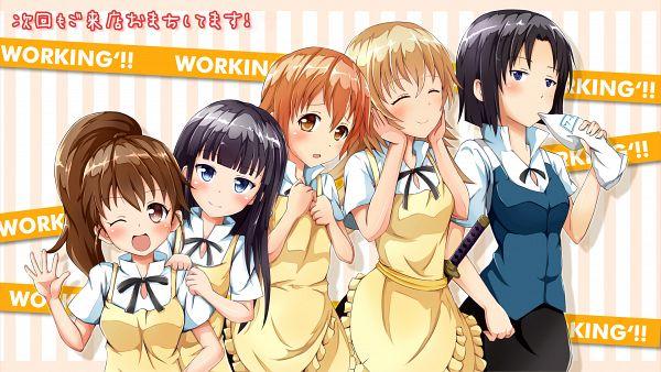 Tags: Anime, Ok-ray, Working!!, Taneshima Popura, Inami Mahiru, Shirafuji Kyouko, Todoroki Yachiyo, Yamada Aoi, Wallpaper, HD Wallpaper