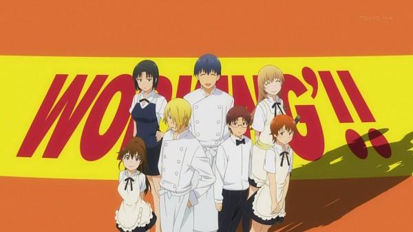 Tags: Anime, Working!!, Inami Mahiru, Takanashi Souta, Shirafuji Kyouko, Souma Hiroomi, Todoroki Yachiyo, Taneshima Popura, Satou Jun, Screenshot, Wallpaper