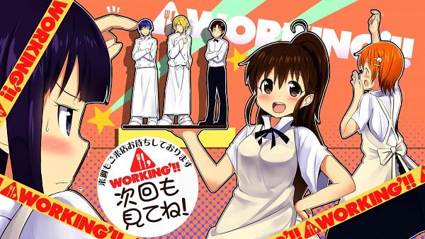 Tags: Anime, Masamuuu, Working!!, Yamada Aoi, Takanashi Souta, Taneshima Popura, Inami Mahiru, Souma Hiroomi, Satou Jun, Chef Uniform, Fanart, Wallpaper