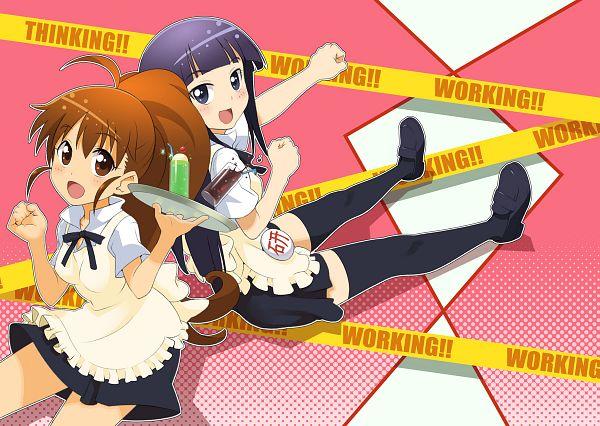 Tags: Anime, Pixiv Id 2202727, Working!!, Yamada Aoi, Taneshima Popura, Fanart