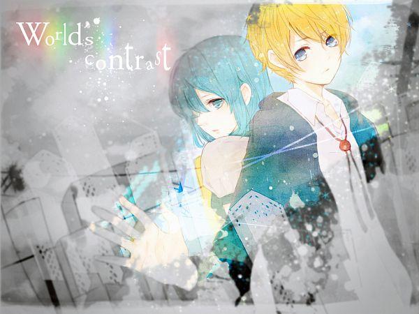 Tags: Anime, Penchop, VOCALOID, Kagamine Len, Hatsune Miku, Wallpaper, World's Contrast, Fanart, LenMiku