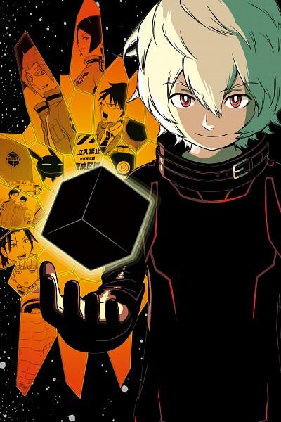 Tags: Anime, Ashihara Daisuke, World Trigger, Jin Yuuichi, Replica (World Trigger), Mikumo Osamu, Kuga Yuuma, Official Art, Manga Cover, Mobile Wallpaper