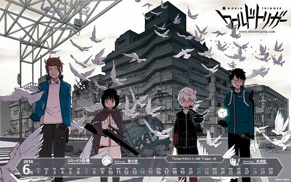 Tags: Anime, Toei Animation, World Trigger, Kuga Yuuma, Jin Yuuichi, Amatori Chika, Mikumo Osamu, 1440x900 Wallpaper, Wallpaper, Official Art
