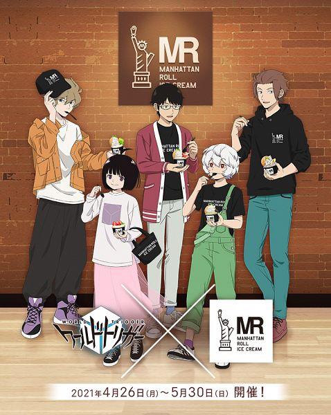 Tags: Anime, Toei Animation, World Trigger, Jin Yuuichi, Hyuse, Amatori Chika, Mikumo Osamu, Kuga Yuuma, Holding Spoon, Text: Brand Name, Official Art, Product Advertising