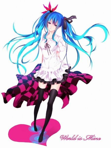 Tags: Anime, Meri-h-shino, Project DIVA F 2nd, VOCALOID, Hatsune Miku, World is Mine, Pixiv, Project DIVA Supreme