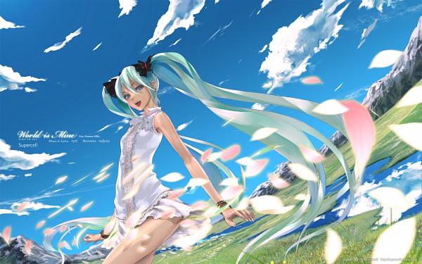 Tags: Anime, redjuice, VOCALOID, Hatsune Miku, World is Mine, Pixiv, Wallpaper