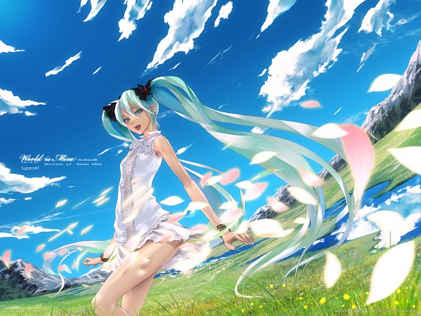 Tags: Anime, redjuice, VOCALOID, Hatsune Miku, World is Mine, Wallpaper