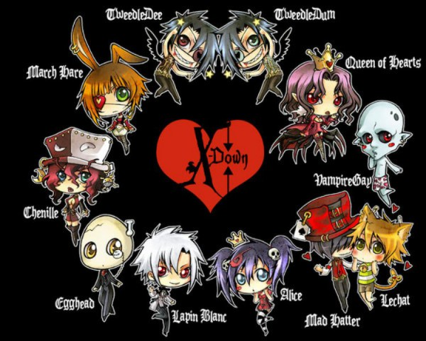 Tags: Anime, Poisoncage, Alice in Wonderland, X-down, Queen of Hearts, Lapin Blanc (X-down), Tweedledee (X-down), Alice (Alice in Wonderland), Tweedledum (X-down), Mad Hatter, Chenille (X-down), Alice (X-down), March Hare